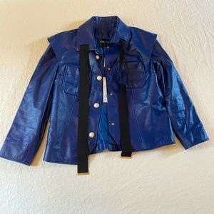 Chanel Blue Leather Jacket New With Tags